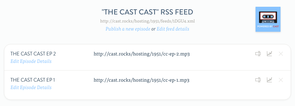 The feed page for a podcast RSS feed