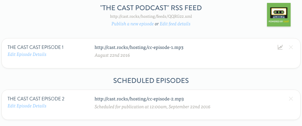 Scheduled episodes are listed in the publisher