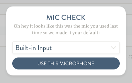 The Studio microphone prompt